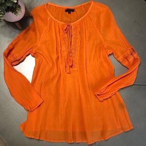 LANE BRYANT orange textured tie front shirt 14/16